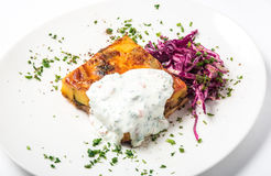 Piece of meat pie with vegetable and garnish red cabbage Royalty Free Stock Photography