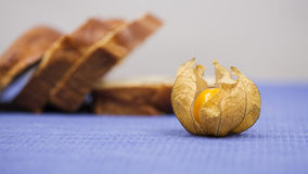 Piece of mediterranean bread with olives and Physalis peruviana fruit Royalty Free Stock Photography
