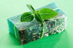 Piece of natural soap. Royalty Free Stock Images