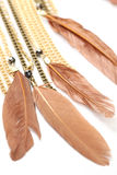 Piece of necklace chains with feathers. Closeup photo of necklace over white Stock Images