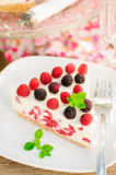 A Piece of No-bake Raspberry Cheesecake Stock Photos