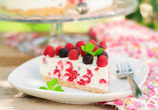 A Piece of No-bake Raspberry Cheesecake Royalty Free Stock Images