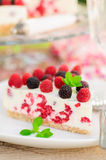 A Piece of No-bake Raspberry Cheesecake Royalty Free Stock Image