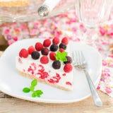 A Piece of No-bake Raspberry Cheesecake Royalty Free Stock Photos