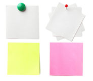Piece of note paper. On white background, collage stock image
