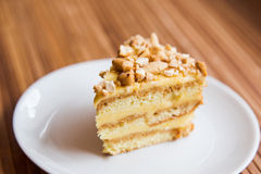 A piece of nut cake Royalty Free Stock Photography