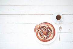 Free Piece Of Chokolate Cake And Cup Of Coffee On White Wooden Table. Top View Image Of Restaurant Or Cafe Menu Background Royalty Free Stock Image - 117368676