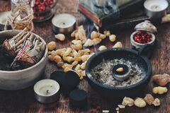 Free Piece Of Frankincense Resin Incense Burning On Charcoal Royalty Free Stock Photo - 192259655