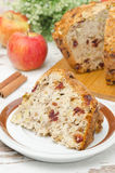 Piece Of Homemade Apple Cake With Cinnamon And Dried Cranberries Royalty Free Stock Image
