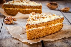 Free Piece Of Homemade Carrot Cake With Walnuts Royalty Free Stock Image - 61760026