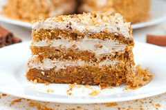 Free Piece Of Homemade Tasty Carrot Sponge Cake With Royalty Free Stock Photos - 53623788