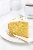 Piece Of Orange Cake Decorated With Greek Yogurt, Honey Stock Photo