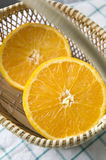 Piece of orange in basket. Piece of fresh orange put in basket Stock Images