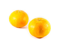 Piece of orange fruit in white background Royalty Free Stock Photography