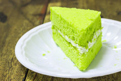 Piece of pandan cake Royalty Free Stock Photos