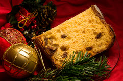 Piece of panettone, traditional cake for Christmas and New Year. Royalty Free Stock Photos