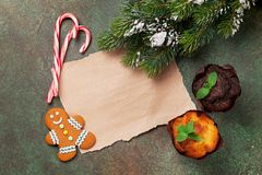 Piece of paper for christmas wishes Royalty Free Stock Image
