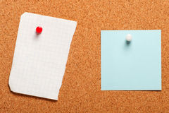 Piece of paper on a cork board Stock Photo