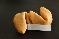 A piece of paper displayed with two fortune cookies. A piece of paper for a fortune displayed with two fortune cookies against a black background Royalty Free Stock Photo