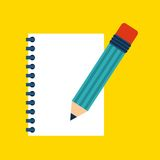 Piece of paper and pencil design. Note concept. Vector graphic Royalty Free Stock Images