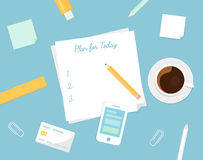 Piece of Paper with Plan Your Day Sign, Morning Coffee Cup and Stationery Objects. Managing Your Day Illustration Royalty Free Stock Photos