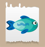 Piece of paper with simple, blue, smiling fish Royalty Free Stock Photography