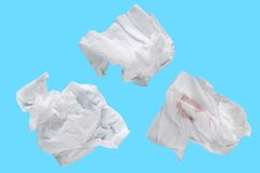 Piece paper tissue white isolated on blue background with clipping path. Stock Photography