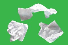 Piece paper tissue white, isolated on green background with clipping path. Stock Photography