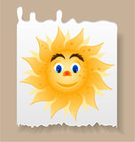 Piece of paper with yellow, smiling sun with blue Royalty Free Stock Photo