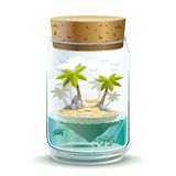 Piece of paradise. Piece of island paradise in a jar Stock Photography