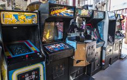 A piece of the past. Manitou Springs, CO/USA - September 6, 2016 - A collection of classic arcade machines at Arcade Amusements in Manitou Springs, Colorado Royalty Free Stock Image