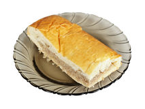 Piece of pasty with meat on plate Royalty Free Stock Images