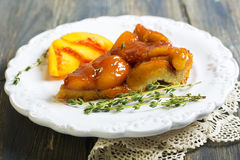Piece of peach pie closeup. stock photos