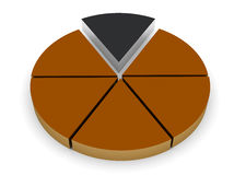 Piece of the pie. 3d pie chart render Royalty Free Stock Photos