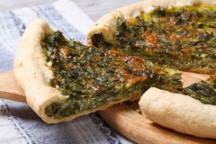 Piece of pie with green stuffed spinach, eggs and cheese Royalty Free Stock Photo