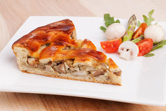 Piece of pie with mushroom and vegetable composition on dish Stock Images