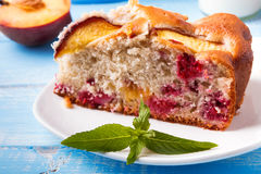 A piece of pie with peaches Stock Photo