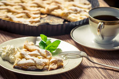 Piece of pie served with coffee Royalty Free Stock Photography