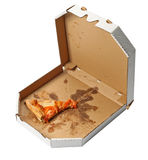 Piece of pizza. In a takeaway box isolated on white background Royalty Free Stock Photography