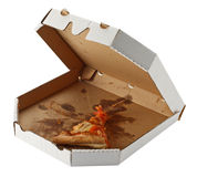 Piece of pizza. In a takeaway box isolated on white background Stock Image