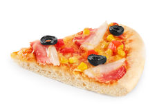 Piece of pizza with bacon and corn. Stock Photos