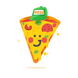 Piece of pizza cartoon character -  Royalty Free Stock Photography
