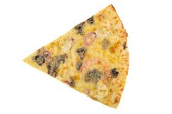 Piece of pizza with chicken and mushroom isolated on white Stock Photos