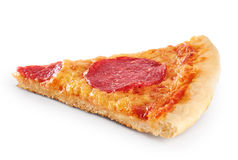 Piece of pizza with sausage on a white background. Royalty Free Stock Photos