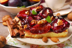 Piece of plum cake with nuts and spices Stock Photos