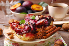 Piece of plum cake with nuts and spices Royalty Free Stock Photo