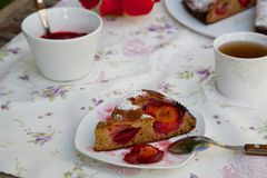 A piece of plum pie Royalty Free Stock Photo