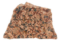 Piece of Polished Red Granite Isolated on White Background Royalty Free Stock Image