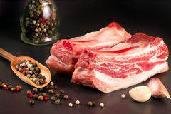 Piece of pork on a dark background with peppercorn and garlic Royalty Free Stock Photo