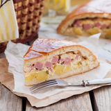 A Piece of Potato, Ham, Sour Cream and Cheese Pie Stock Photo